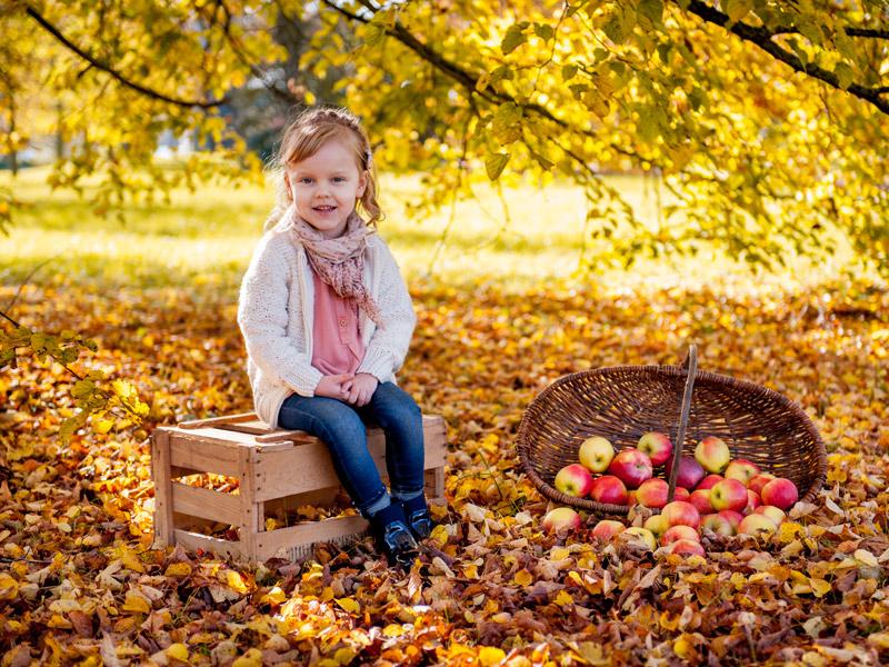 Herbst-Fotoshooting-Maedchen-mit-Korb-Aepfel-1